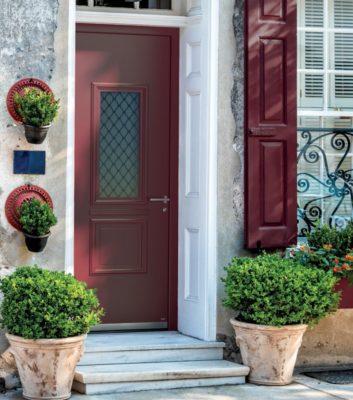 Porte d'entrée style traditionnel vitrée