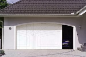 porte de garage avec décor gravé