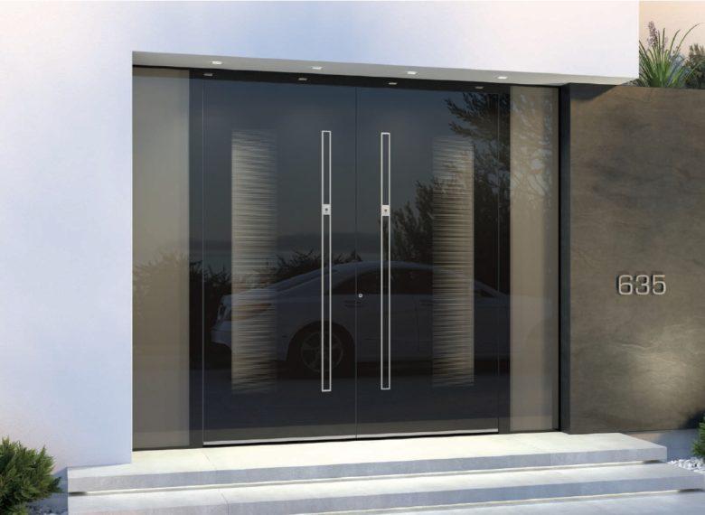 porte d'entrée contemporaine double, grande largeur