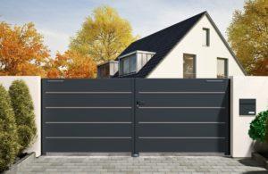 Portail aluminium Sarthe modèle Essentiel avec liserés décoratifs